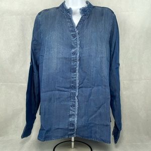 Womens Side Stitch Frayed Denim L/S Shirt-large